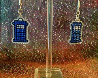 Police Box Earrings, Tardis Earrings, Doctor Who Earrings, Cross Stitch Earrings, Police Box, Tardis, Doctor Who, Whovian. Timelord