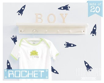 Rocket Decals | Spaceship Wall Decal Vinyl Stickers | Sets of 20 / 40 / 60 _ Shapes & Patterns For Boys Nursery OR Kids Room_ID#1377