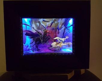 Headless Horseman & Ichabod - LIGHTED - Movie Moments Collection, Disney, Pop Art, 3D, Shadowbox, Original, One-of-a-Kind, Handmade