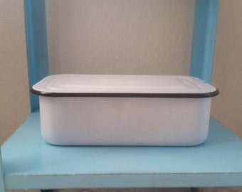 Vintage Enamelware refrigerator box. Cold box. Kitchen storage.