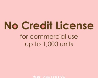 No Credit License for clipart, Extended License, Commercial Use License, for digital clipart, No credit required