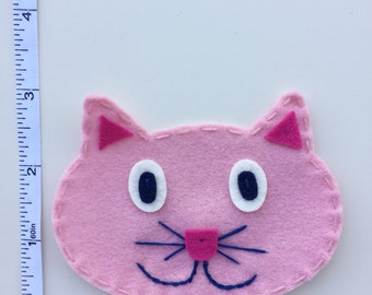 "3"" Pink Kitty Cat Felt Appliqué"