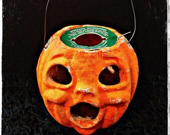 Pre-1950s Paper Mache Pumpkin Jack O Lantern