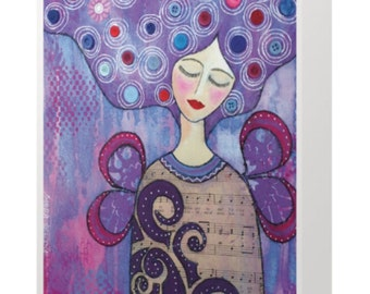 BLANK CARD 'Finding Her New Wings' ~ mixed media artwork by Amanda Stelcova