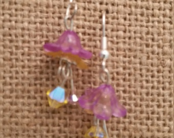 Fairy Earrings, Dangeling, Elegant, Lucite and Swarovski Crystal