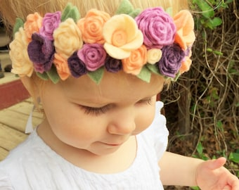 Felt cluster flower crown with green leaves headband - peach skin, georgia peach, lavender, marble purple