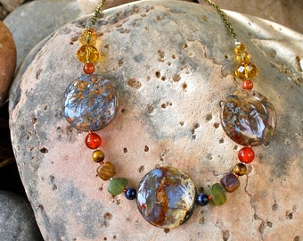 Gemstone and Crystal Necklace in Earth Tones