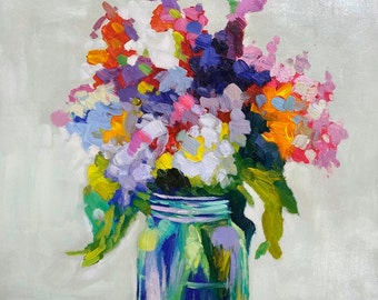 Flower Oil Paintings on Canvas. Flower Painting. Oil on Canvas Wall Art. Floral Painting Wall Decor Still Life. Photo to Painting. Flowers.