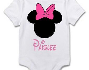 Minnie Mouse Baby girl Bodysuit Disneyland Trip Personalized Handmade Made to Order Custom