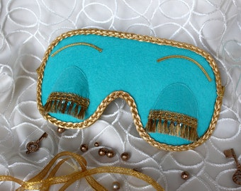 Breakfast at Tiffany's and Audrey Hepburn in role of Holly Golightly sleeping mask. Cute handmade sleep mask in Tiffany and CO blue color
