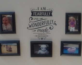 I am fearfully and wonderfully made - wall decal - glass block decal - religious quote