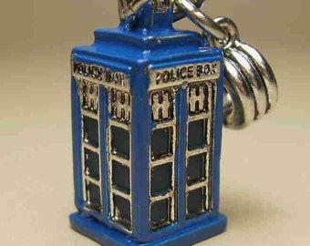 Mini 3-D Blue POLICE Call-Box Handpainted CHARM + Carrier for DIY European Charm Bracelet / Necklace Dr Who Tardis Inspired Sci-Fi Steampunk