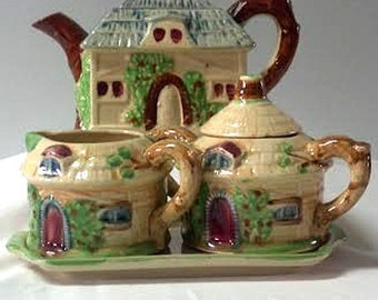 Rare Four Peice Cottage Tea Set made in Occupied Japan