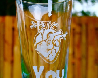 I HEART YOU Pint Glass - Anatomical Heart