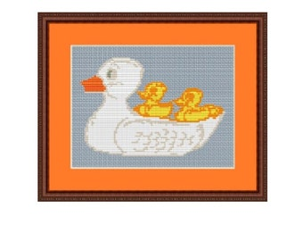 Mum Duck And Little Ducklings Counted Cross Stitch Pattern. Baby DuckPDF Instant Download. Pattern. Kitchen Decor Pattern.
