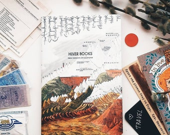 Sketchbook, notebook red A5, 72 pages for write and draw mountain and river. Creamy and plain paper. By HIVER BOOKS
