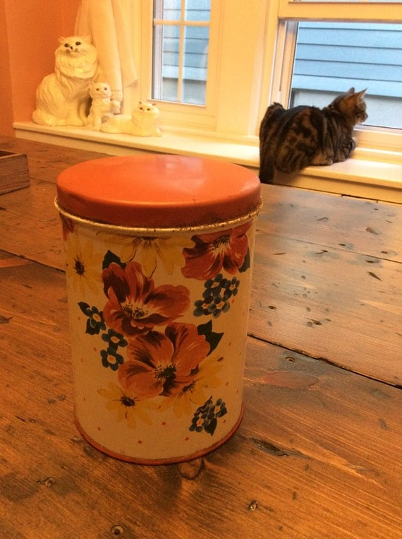 Retro  Poppy & Daisies Tin Canister (A317)