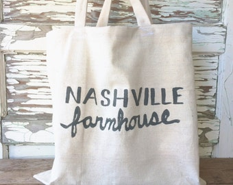 Nashville Farmhouse Canvas Tote