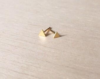 Tiny triangle earrings, geometric earrings, tiny earrings, gold plated earrings, minimal earrings, simple earrings, gold triangle