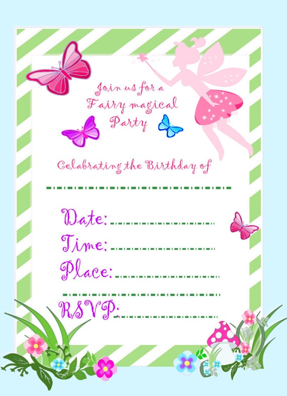 It is a graphic of Intrepid Fairy Birthday Invitations Free Printable