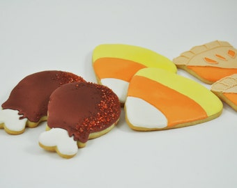 Thanksgiving Dinner Set of Decorated Iced Sugar Cookies - Turkey Legs - Candy Corn - Pumpkin Pie - 1/2 Dozen - Party favor - foodie gift