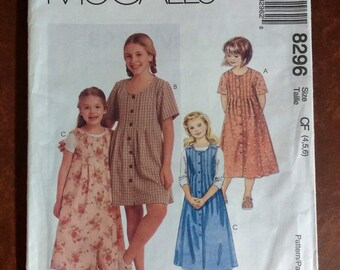 McCall's 8296 Girls Dress or Jumper Vintage Sewing Pattern Size CF 4,5,6, Girls Pattern, Girls Dress Pattern