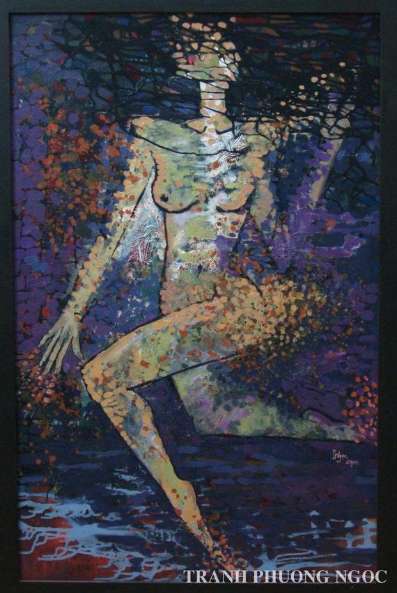 """FLYING UP 35x55"""" oil on canvas, nude art, wall decor, original painting by Nguyen Ly Phuong Ngoc"""