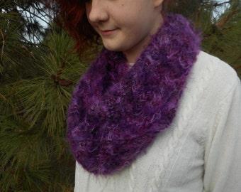 Fluffy Purple Infinity Scarf