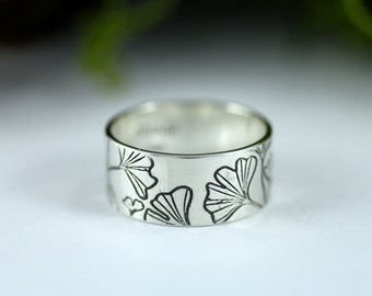 Ginkgo ring - Leaf ring - Leaves ring - Etched sterling silver ring