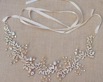The Audrey - Silver Twined Rhinestone Encrusted Bridal Headband Wreath White Ivory Ribbon Crown Wedding Bride Crystals Boho headpiece Belt