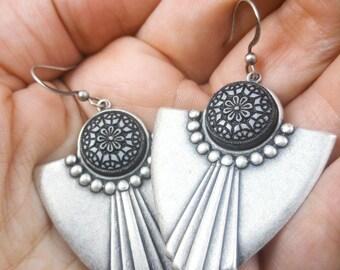 Silver Art Deco earrings TITANIUM earrings Art Deco jewelry Bohemian earrings Tribal earrings Hypoallergenic earrings Sensitive ears earring