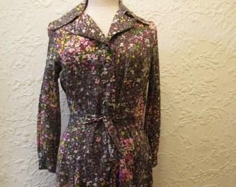 1970s Original Vintage Sheer Cotton Floral Day Dress