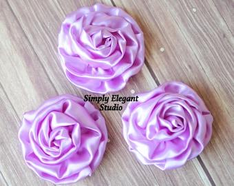 "Purple Rolled Shiny Rosettes, 3"" Fabric Flowers, Headband Flowers, DIY Craft Flowers"