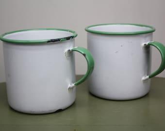 Vintage Enamel Cup/Sweden/Green