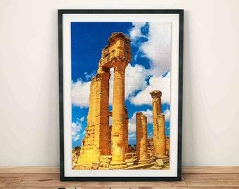 Ruins Print, old ancient ruins, roman ruins, home decor print, abandoned building, travel photo, historical ruins, ruins art wall, Libya art
