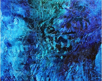 artLigne  39 x 59  big size xxl  blue green turquoise abstract heavy texture stunning