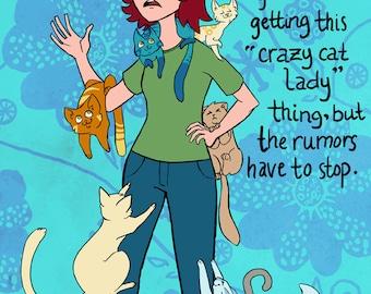 Crazy Cat Lady # 12 - 8 x 10 - T Shirt Iron On Transfer