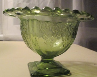 Clear green vintage compote