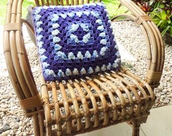 Crochet Pillow, Afghan Pillow, Granny Square Pillow, Small Pillow