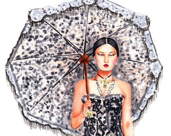 Dolce & Gabbana catwalk-fashion illustration art print,fashion wall art,fashion sketch