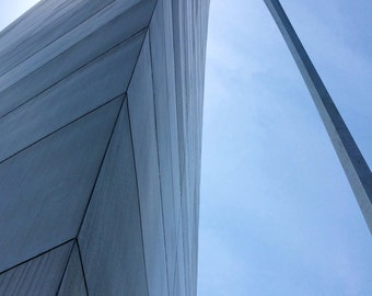 St Louis Arch | Lines and Curves | Unique Perspective | Abstract Photo Print | Blue and Gray Arc | Steel Architecture | Missouri Wall Art