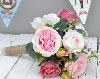Silk wedding bouquet - Artificial Wedding bouquet -  Rose wedding bouquet - Faux flower wedding bouquet - Hand Tied Faux wedding Bouquet