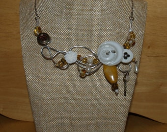 Mustard pearl necklace, silver wire, button, yellow