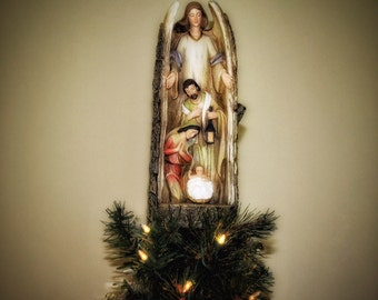 Unique Tree Topper - Angel Log with Holy Family