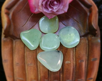 Prehnite with Epidote Palmstone, Tumbled Prehnite, Prehnite, Metaphysical Crystal