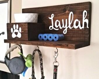 Dog Leash Holder, Custom Dog Leash Holder, Dog Leash Hanger, Dog Treat Holder, Dog Collar Sign, Personalized Dog Sign, Dog Collar