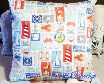 Beach Print Pillow Covers Seaside Ocean Coastal Nautical Decor
