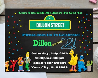 Sesame Street Invitations, Elmo, Cookie Monster, Sesame Street Birthday (Any Age)Printed 5x7 Invitations or Digital File *** FREE SHIPPI