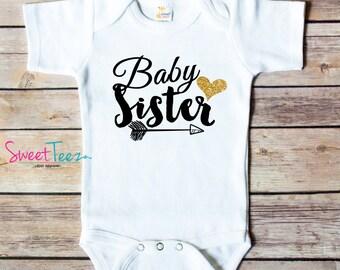 Little Sister Bodysuit Gold Glitter Arrow Baby sister Shirt Baby Bodysuit