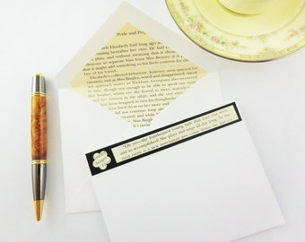 Pride and Prejudice Stationery | Recycled Book Stationery | Jane Austin Stationary | Lined Envelopes | Book Lovers Gift | Upcyled Stationery